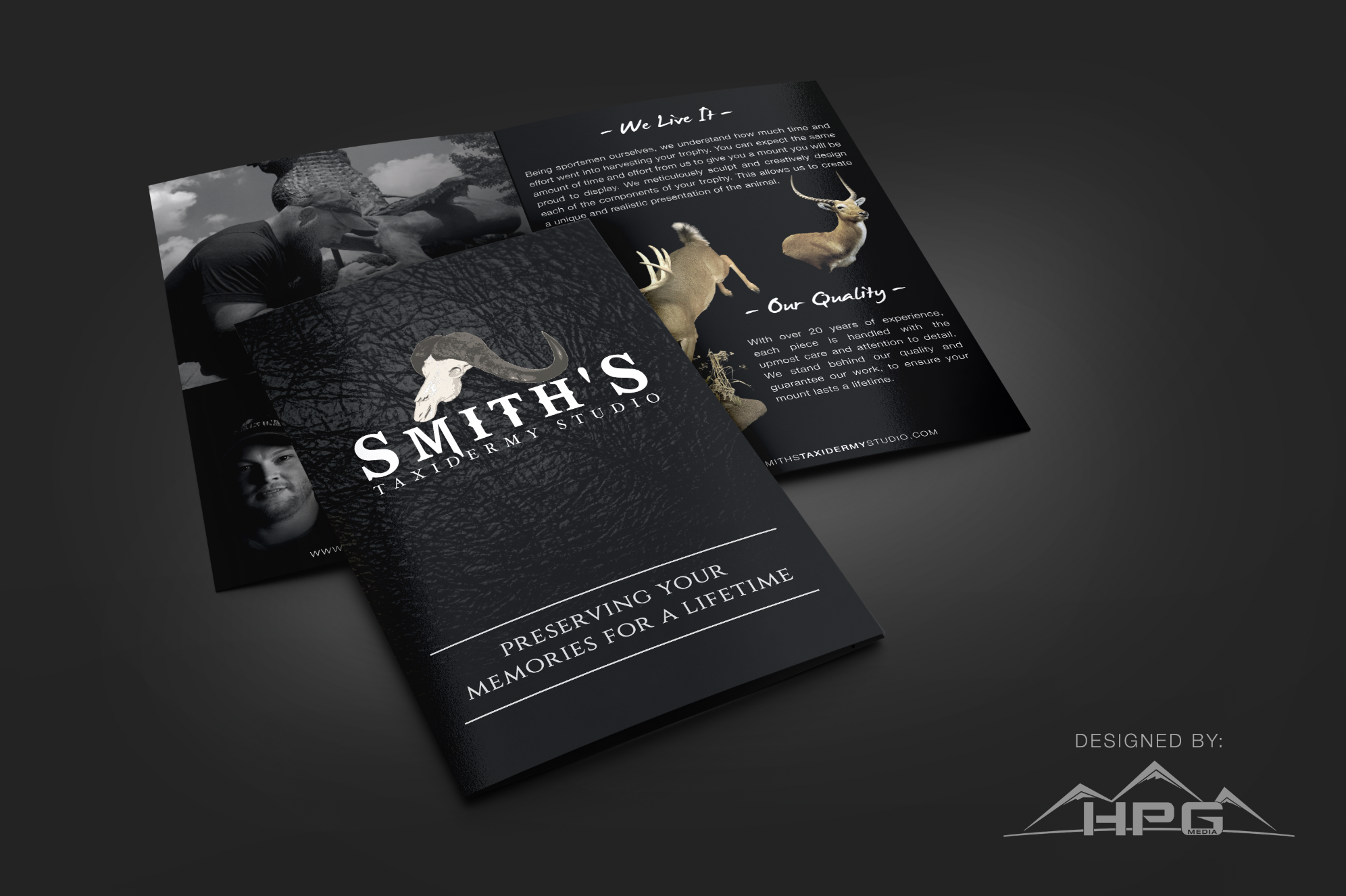 Custom brochure by HPG Media for Smith's Taxidermy Studio